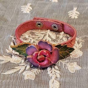 Jewelry - Hand Tooled Leather Rose Bracelet